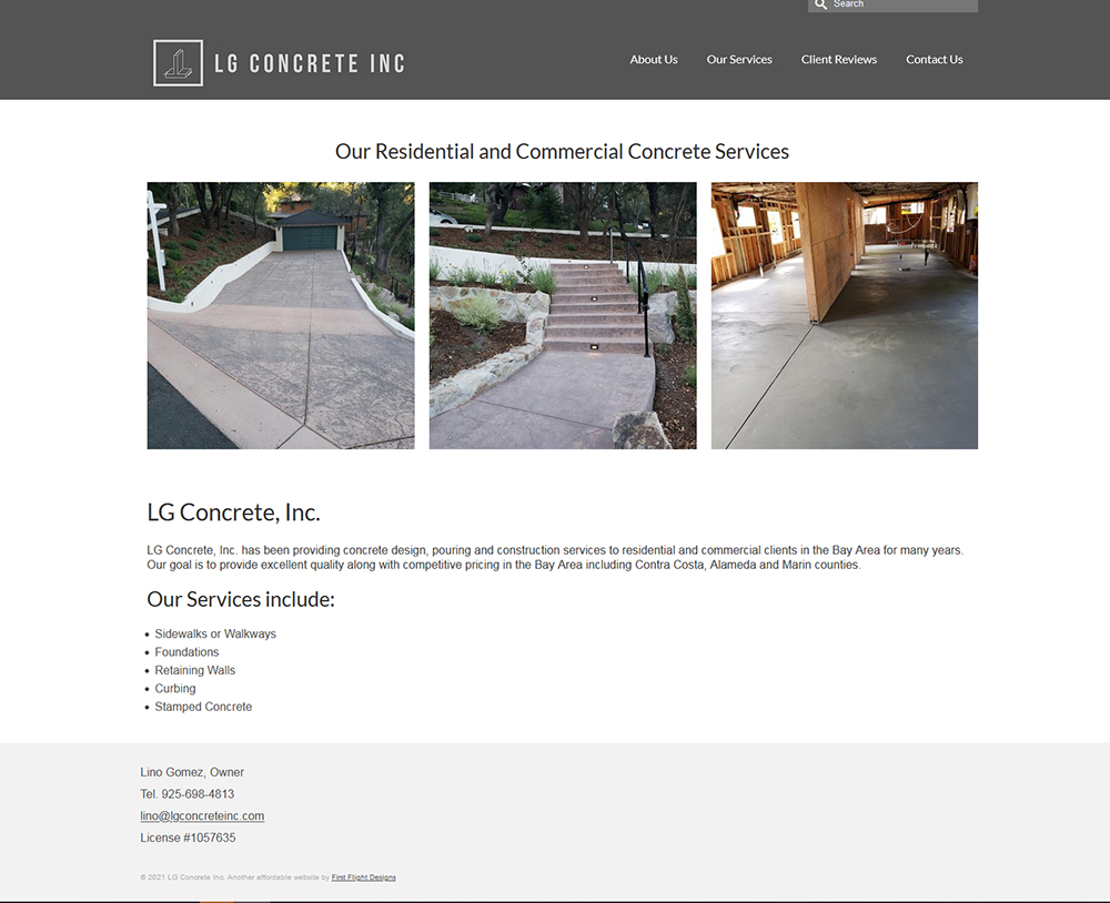 LG Concrete website