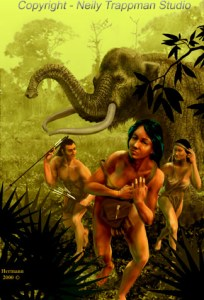 PALEO-INDIAN FAMILY FLEE A MASTADON