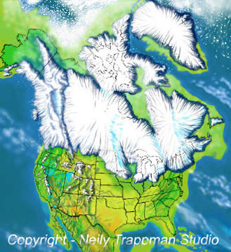Map of North America duing the height of the Winsconsin glaciation.