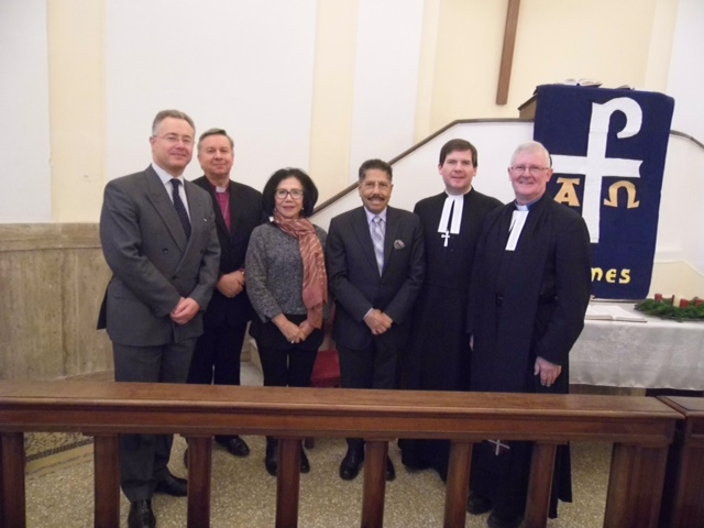 (left to right) HE Nigel Baker, Archbishop David Moxon, the Indonesian Ambassador to Italy HE Mr August Parengkuan and his wife, Revd Dr Gareth Powell, Revd Dr Tim Macquiban, Methodist Representative in Rome and Minister of Ponte Sant'Angelo Methodist Church.