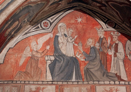 """Detail of a charming medieval wall painting from the tomb of Bishop Rodrigo Díaz (d.1339) in Salamanca's Old Cathedral. Photo title: """"Epiphany"""" by Lawrence OP via Flickr released under a Creative Commons Attribution-Noncommercial license."""