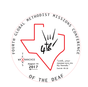 Fourth Global Methodist Missions Conference of the Deaf 2017 Logo: Look your Names are on my Hands - Isaiah 49:16