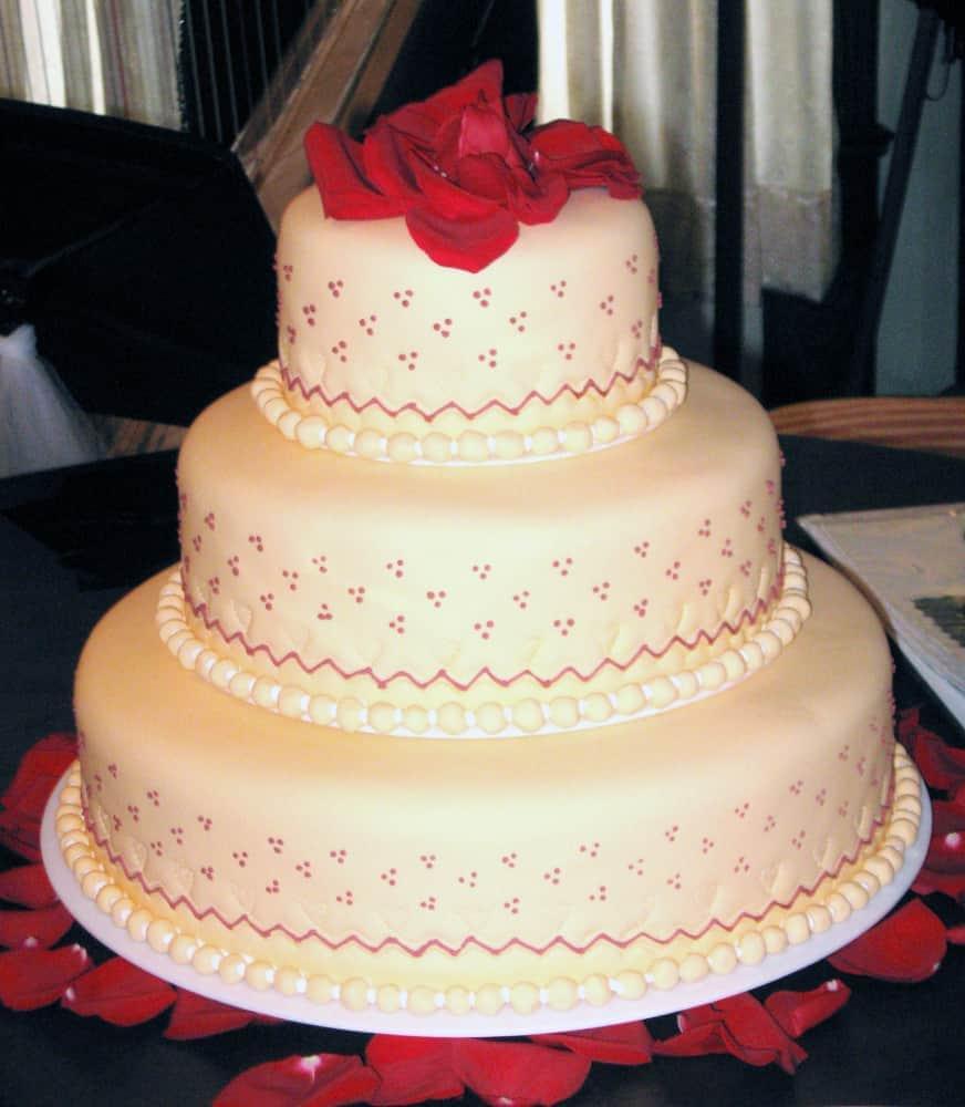 Orange Velvet Knoxville, TN Wedding Cake with Peach Fondant and Triple Dot Design