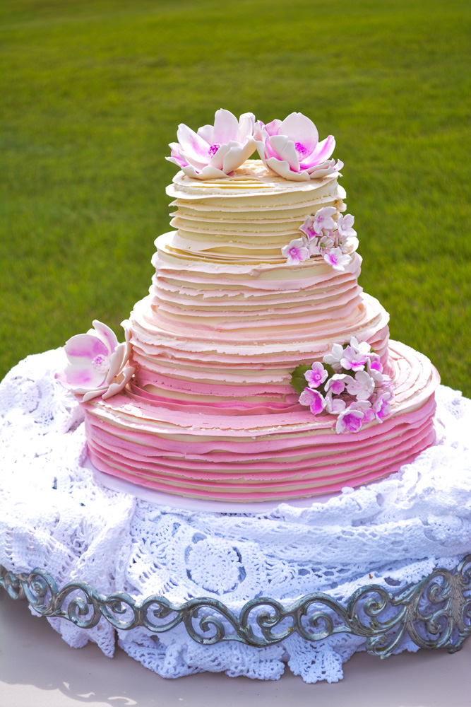 Red Velvet Buttercream Knoxville, TN Wedding Cake with progressive pink ribbon decoration