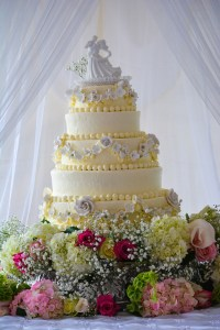 Six Tier Ivory Knoxville, TN Wedding Cake with 100 Sugared & fresh Flowers