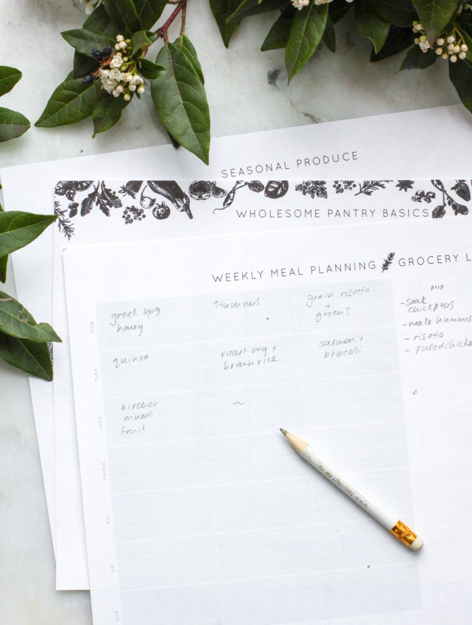 Printable Meal Planner for seasonal produce and a whole foods pantry.