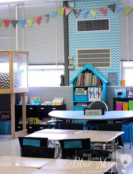 Classroom Reveal 2015 First Grade Blue Skies Banner on Windows and chevron contact paper on table