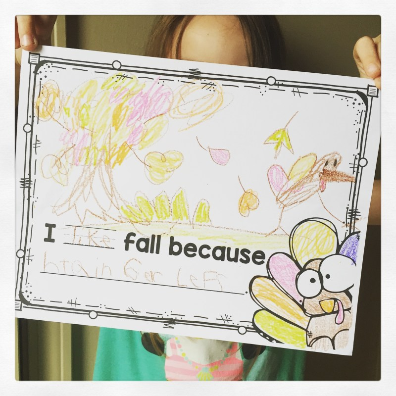 I like fall writing kindergarten first grade