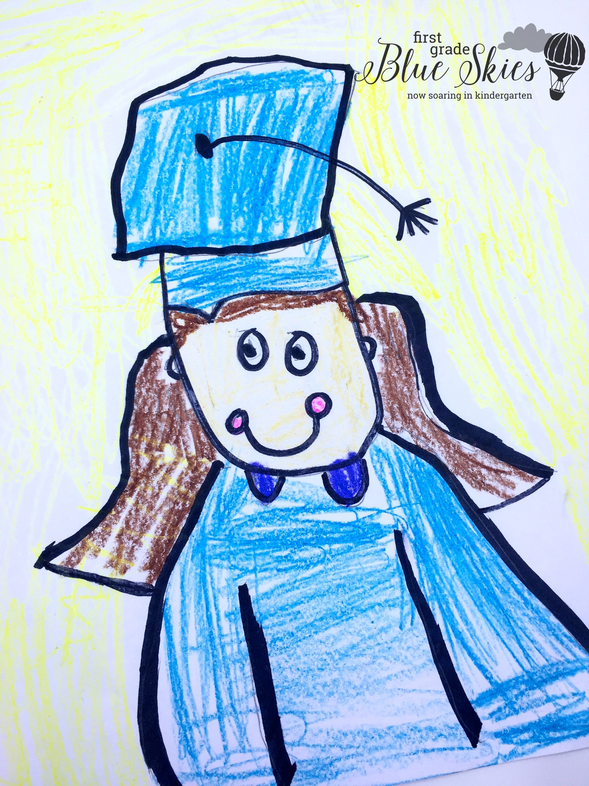 Graduation Directed Drawing and FREE Book Covers - First Grade Blue ...