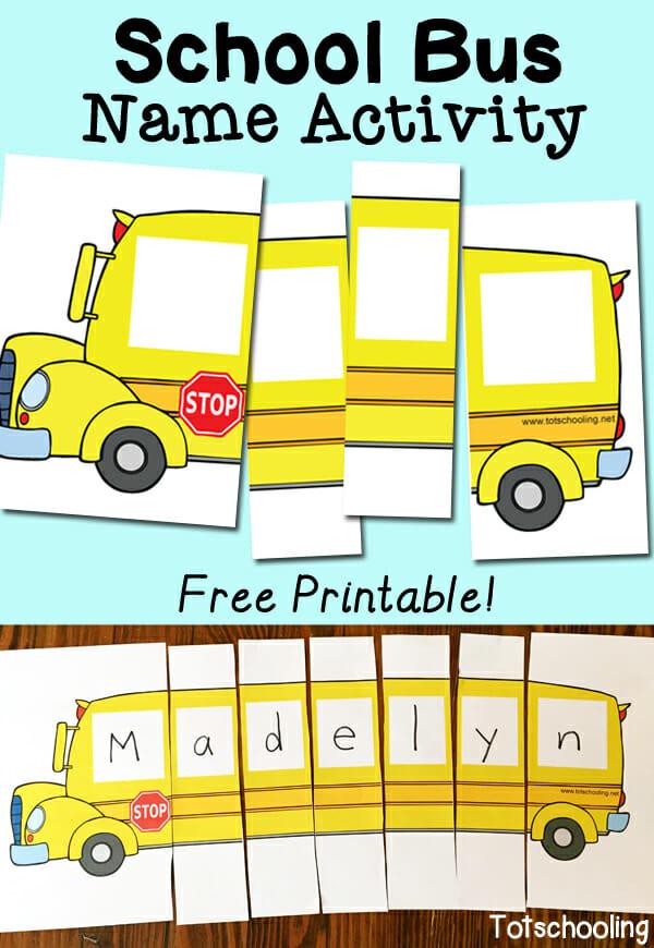 Free School Bus Name Activity