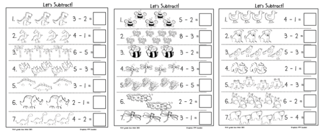 Subtraction Freebies - First Grade Blue Skies