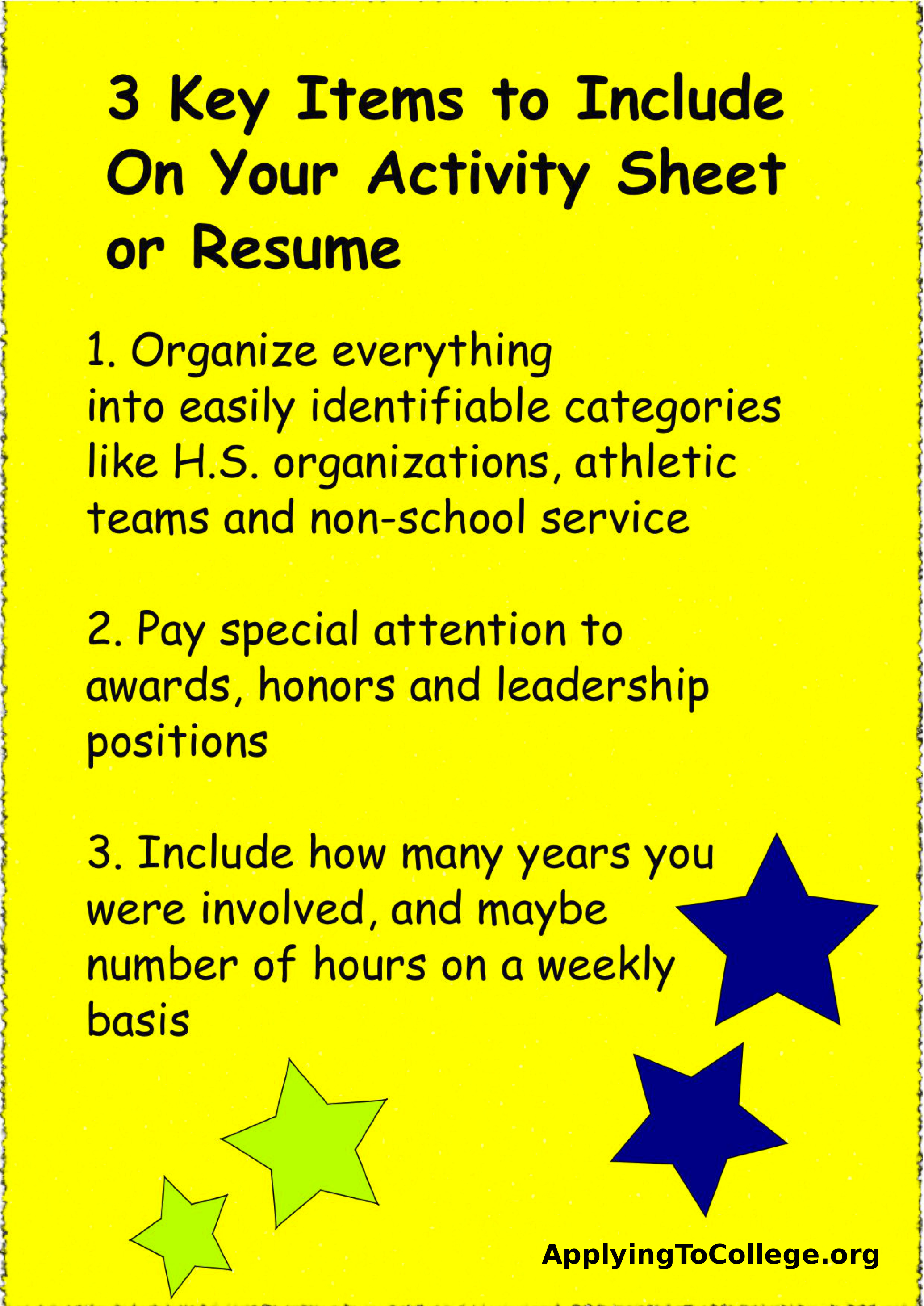 should you include a resume with your college application applying