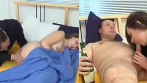 Russian father gets drunk and fucks her daughter is asleep