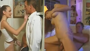 Daughter masturbates watching his dad having anal sex with friend