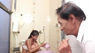 Hot Baby Bathing and sex with Father in law