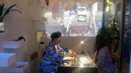 Ofri Cnaani's performance taking place at Andrea Meislin Gallery