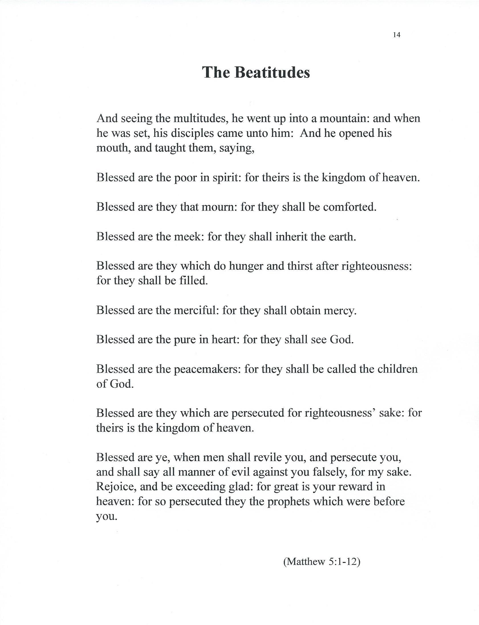 The Words Of The Beatitudes Matthew 5 1 12