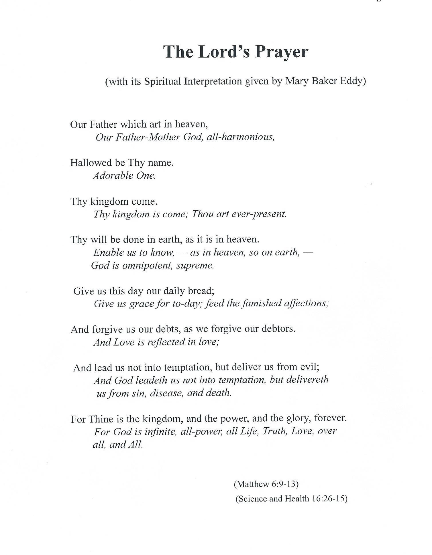 Words Of The Lord S Prayer With Its Spiritual