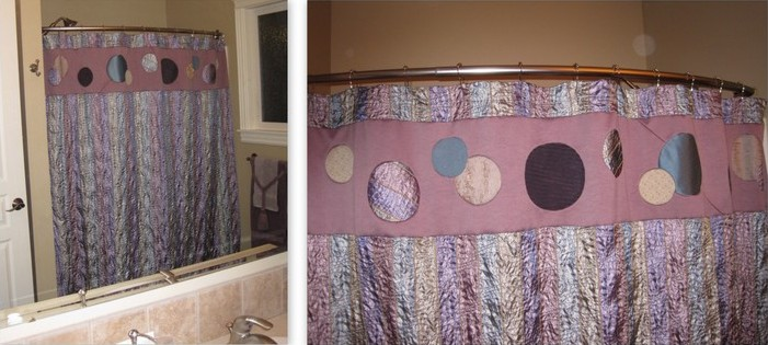 Embellished shower curtain with closeup