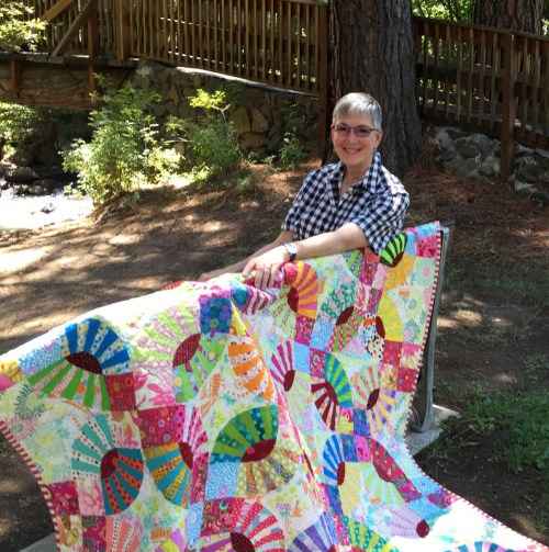 Dawn in park with Lee's Pickle Dish quilt