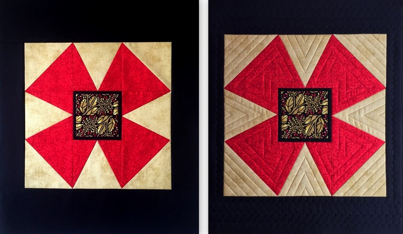JBB windmill block before and after quilting