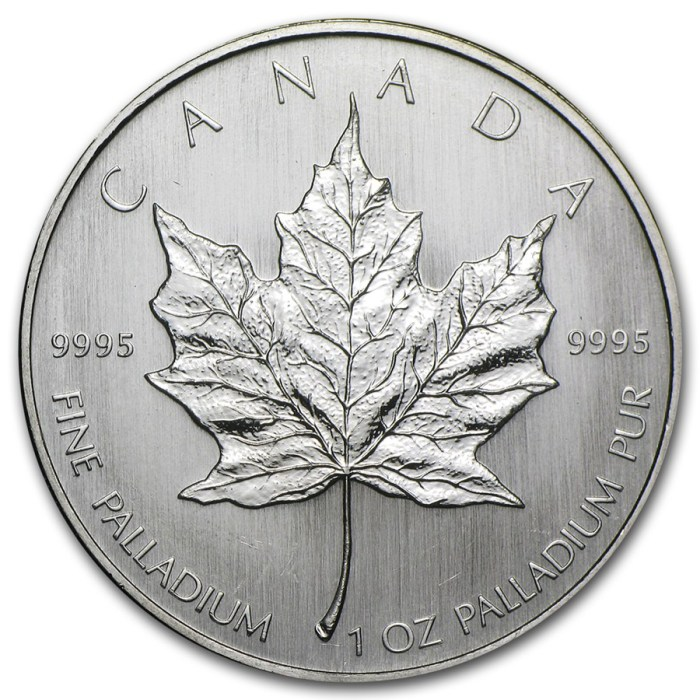 Back of 1 oz Palladium Maple Leaf Coin