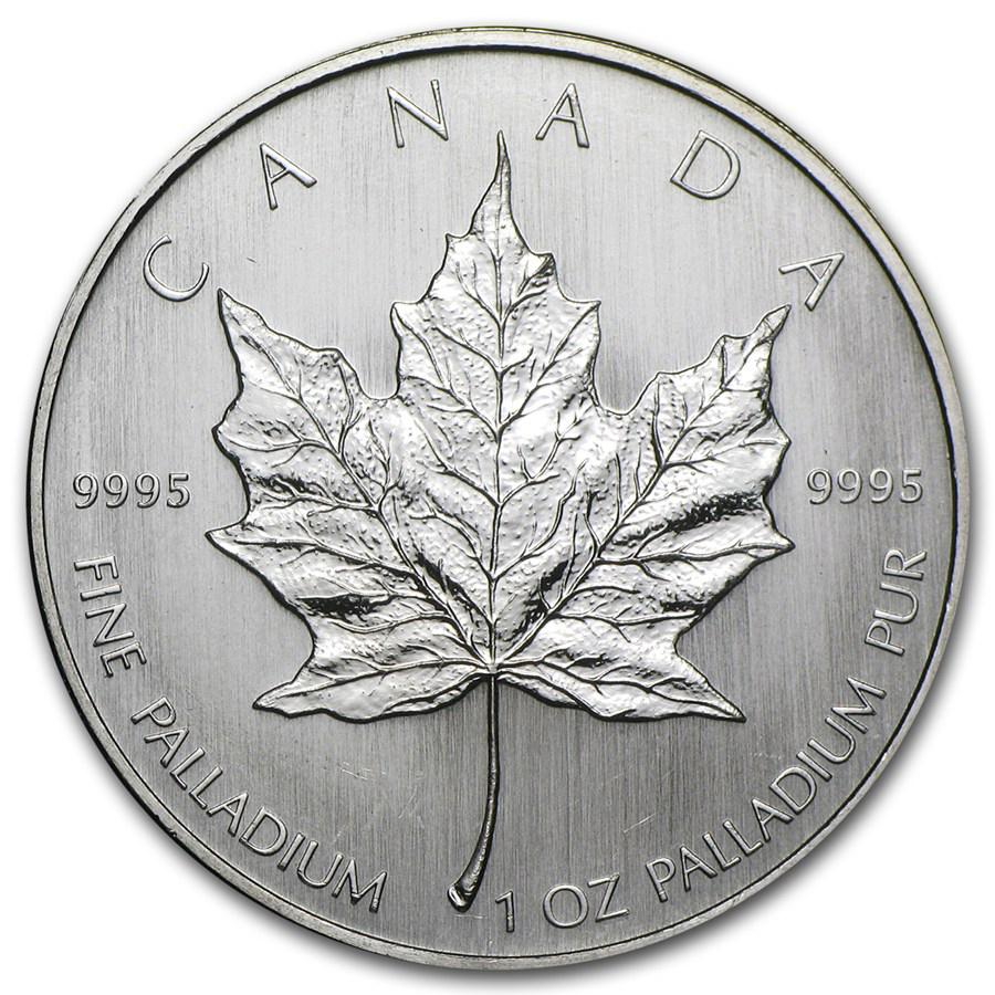 Back of 1 oz Palladium Maple Leaf Coin