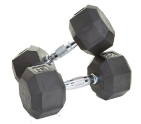 Troy Barbell 30Lb 8­Sided Rubber Encased Dumbbell w/Chrome Steel Contoured Handle