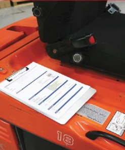 Magnetic Clipboard on Forklift