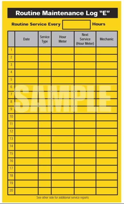 Counter Balance Internal Combustion Daily Check List Sample Routine Maintenance Log
