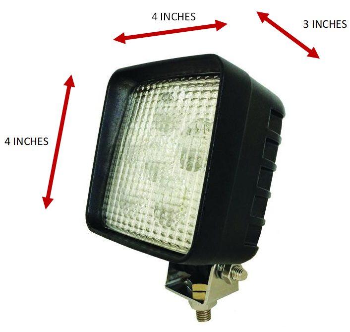 "Eco LED Headlight Measurements 4"" x 4"" x 3"""