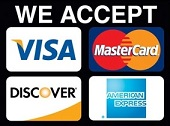 We Accept Amex Mastercard Visa Discover