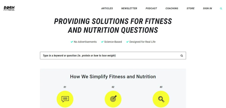 Born Fitness Homepage