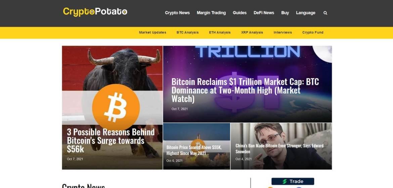 CryptoPotato Homepage