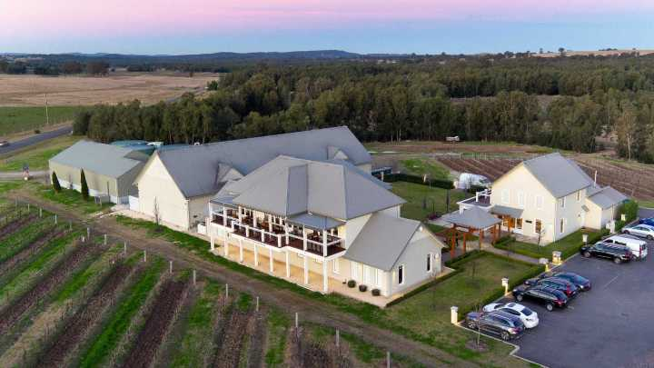 drone photo of a winery in the Hunter Valley