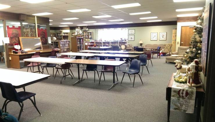 Picture of the library space setup for a class