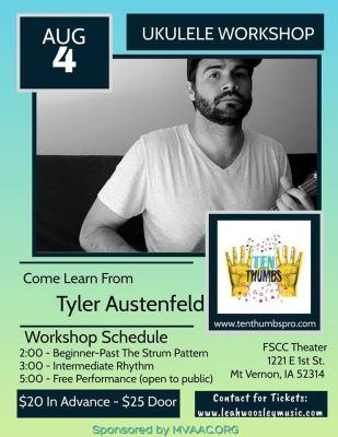 poster for ten thumbs ukelele workshop
