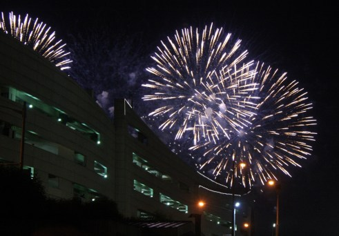 Fireworks display at nearby SM Mall of Asia.