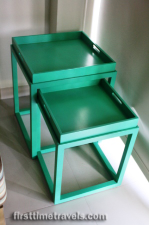 Side table with tray.