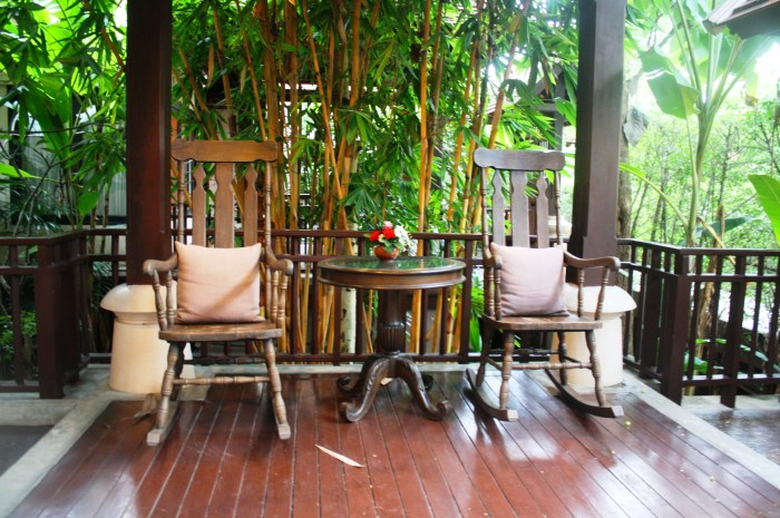 The outdoor terrace of my villa.