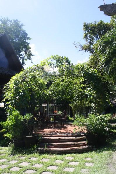 A canopied garden set.