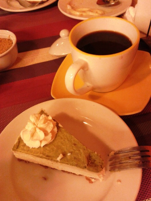Oooh, what a way to cap our dinner. The avocado cake and brewed coffee are heaven sent.