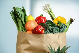 Grocery bag of produce items