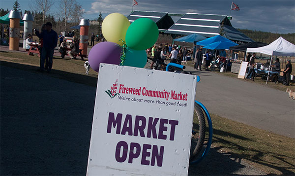 The first Fireweed Market of the season opened Thursday 18 May at Shipyards Park in Whitehorse