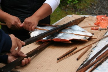 Salmon roasting with cedar slats, Kyuquot stye - Photo by FEAST