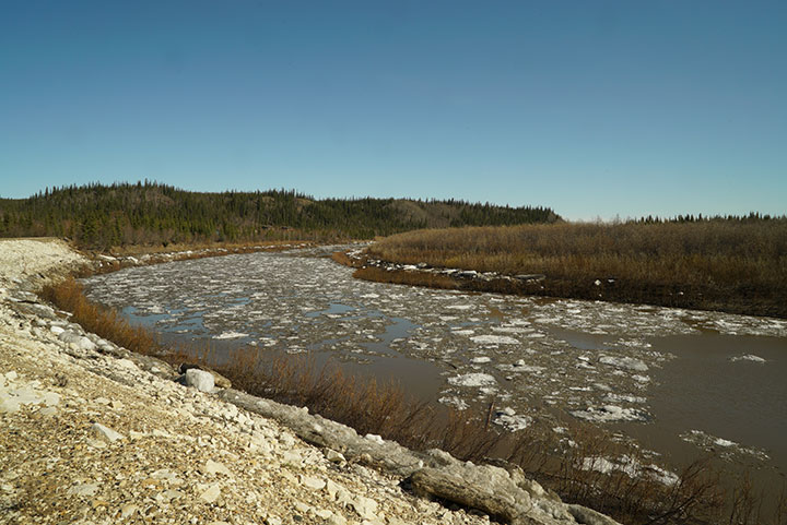 Crow River ice after break-up. Photo by Suzanne Crocker. From FirstWeEat.ca, the Food Security North of 60 website supporting First We Eat, a documentary by Yukon filmmaker Suzanne Crocker about eating only locally-grown foods in in Dawson City, Yukon, in Canada's North, for one year.