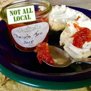 Simple tomato jam. From FirstWeEat.ca, the Food Security North of 60 website supporting First We Eat, a documentary by Yukon filmmaker Suzanne Crocker about eating only locally-grown foods in in Dawson City, Yukon, in Canada's North, for one year.