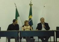 Arquiteto Daniel Nicolau, Dra. Cássia Bulhões e Dr. João Batista na palestra de abertura - A Importância da Fiscalização Urbano-Ambiental para o futuro das cidades – Desenvolvimento urbano com sustentabilidade e qualidade de vida