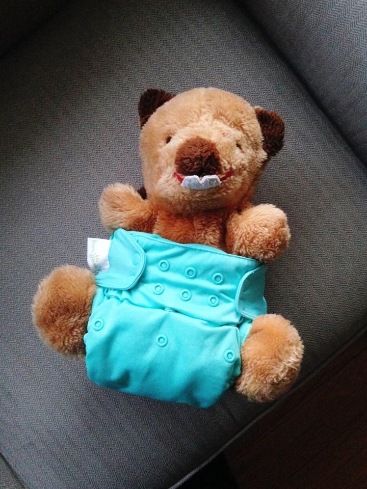 bucky beaver in a cloth diaper
