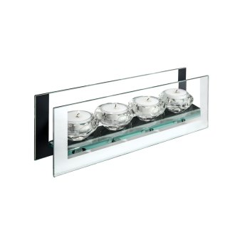 mirror edge glass candle holder 11in